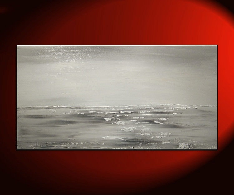 Black and White Seascape Grey Ocean Art Large Ocean Painting Calm Seas Wide Layout 48x24 Custom