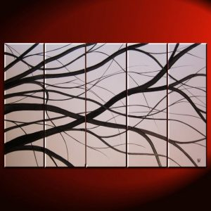 Black and White Tree Branches Painting Large Art Modern Abstract HUGE Elegant Original Monochrome 40x24 Mails Quickly