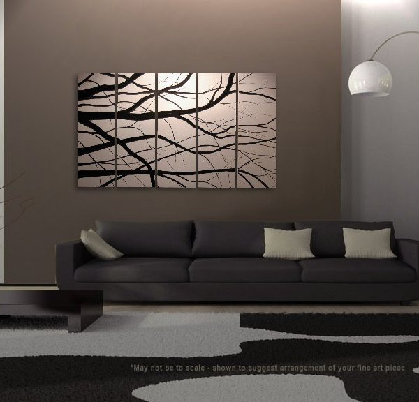 Black and White Tree Branches Painting Large Art Modern Abstract HUGE Elegant Original Monochrome Custom 60x36