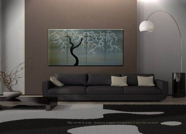 Black and White Tree Painting Spring Plum Blossom Art Soft Earthy Neutrals Original Modern Abstract Asian Style Art 60x30 Ships Quickly