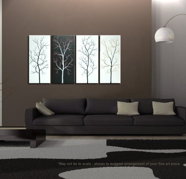 Black and White Tree Painting Zen Asian Cherry Blossom Art Monochrome branches Custom 60x30 customizeable