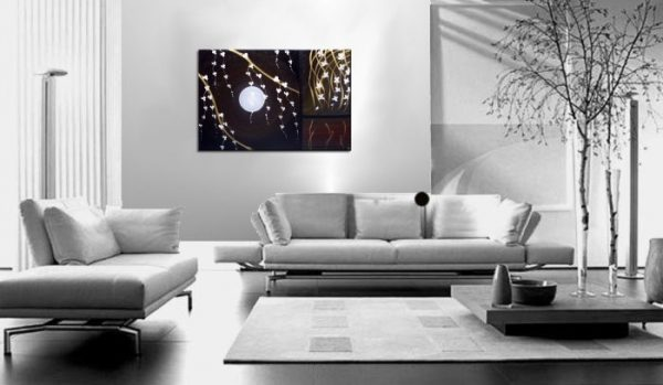 Black Modern Acrylic Painting Blossoms, Orchids and Wheat Original Art Golds, Reds and White Custom 36x24