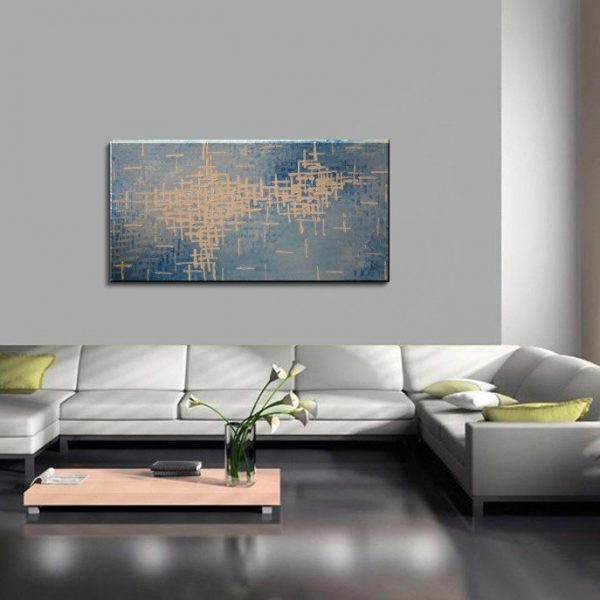Blue Abstract Painting Textured Knife Art Large Original Modern Impasto Calm Blues and White Contemporary Uplifting Art 48x24 CUSTOM