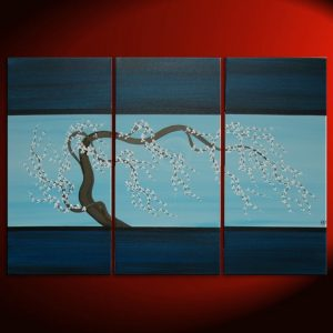 Blue Contemporary Painting Plum Blossom Art Navy Blue Chinese Zen Style Original Art Custom 45x30