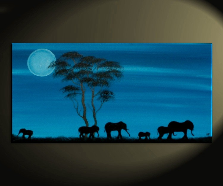 Blue Painting African Elephant Art Moon Acacia Trees Safari Memories Painting Custom Wall Art Home Decor 30x15