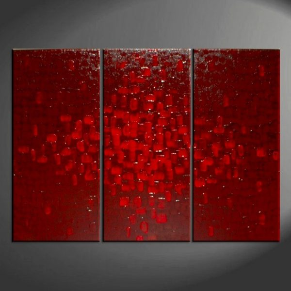 Bold Deep Red Abstract Painting Passionate High Quality Original Art Urban Modern Contemporary Palette Knife Custom 45x30