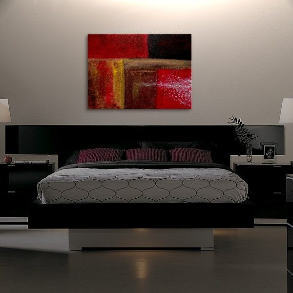 Bold Red Modern Abstract Painting Urban Original Art on Stretched Canvas Brown Yellow White Accent Colors Custom 40x30