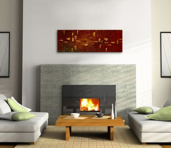 Brown Abstract Painting Earth Tones Modern Abstract Original Textured Knife Painting Impasto Art 36x12 Custom