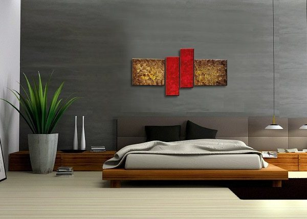 Brown and Red Abstract Painting Modern Wall Art Original Textured Knife Painting Impasto Art 56x24 Ready to Ship