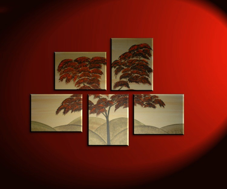 Burnt Orange Tree Painting Asymmetrical Layout Original