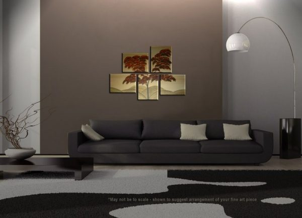 Burnt Orange Tree Painting Asymmetrical Layout Original Gold HUGE Modern Asian Abstract Wall Art Custom 56x40