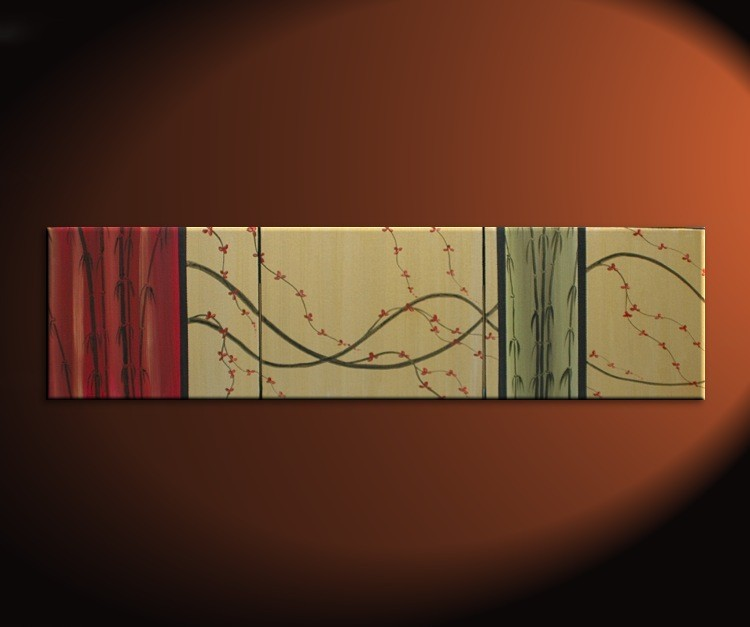 Cherry Blossom and Bamboo Painting Original Abstract Asian Zen Art Large CUSTOM Wine Red and Gold 60x16