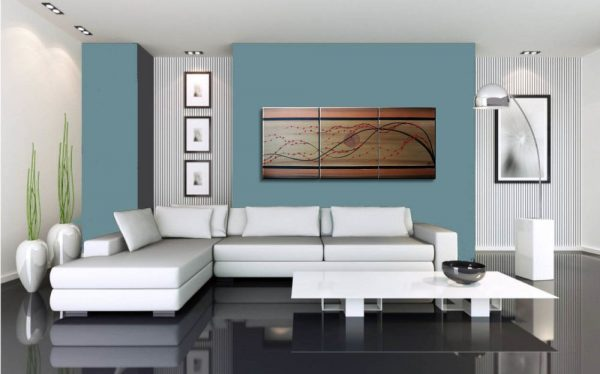 Cherry Blossom Painting Large Gold Tan Brown Tree with Red Cherry Blossoms Triptych Branch Art 48x20 Custom