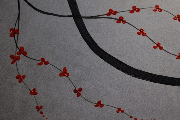 Cherry Blossom Painting Zen Large Art Asian Contemporary Original HUGE red and silver Elegant Home Decor Wall Art Custom 72x48