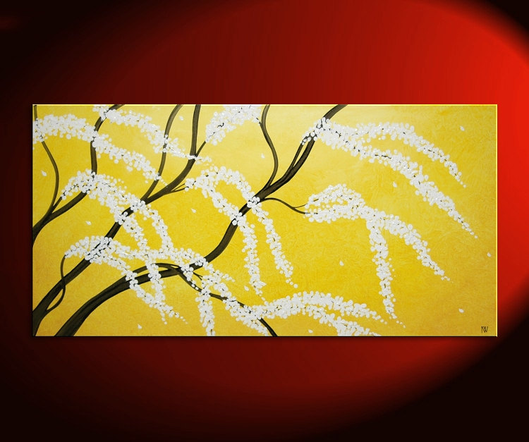 Cherry Tree Art HUGE Cherry Blossom Painting Sunny Yellow Love Birds ...