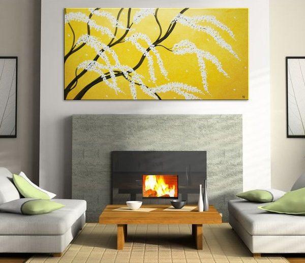 Cherry Tree Art HUGE Cherry Blossom Painting Sunny Yellow Love Birds Zen Asian Style Calming Peaceful Textured Impasto Wall Art 72x36 Custom