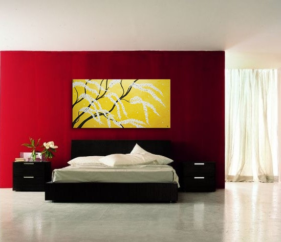 Cherry Tree Art HUGE Cherry Blossom Painting Sunny Yellow Love Birds Zen Asian Style Calming Peaceful Textured Impasto Wall Art 72x36 Custom
