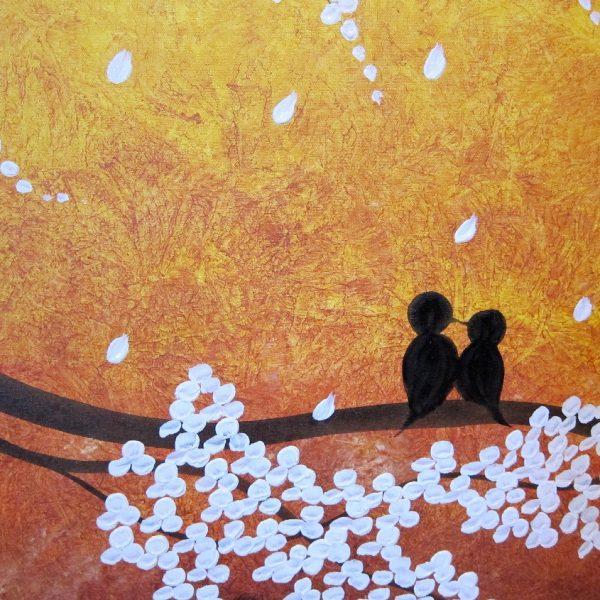 Cherry Tree Art HUGE Cherry Blossom Painting Sunny Yellow Love Birds Zen Asian Style Golden Textured Impasto Wall Art 72x36 Custom