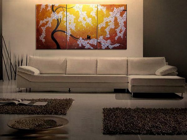 Cherry Tree Art HUGE Cherry Blossom Painting Sunny Yellow Love Birds Zen Asian Style Golden Textured Impasto Wall Art 72x36 Custom