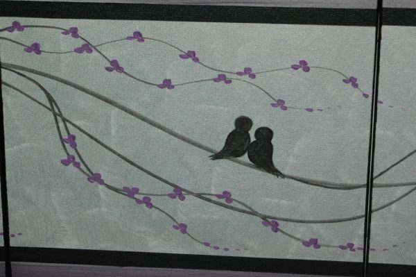 CUSTOM Abstract Love Bird Painting Silver Purple Elegant Wall Art Home Decor Original Art by Nathalie Van 48x20