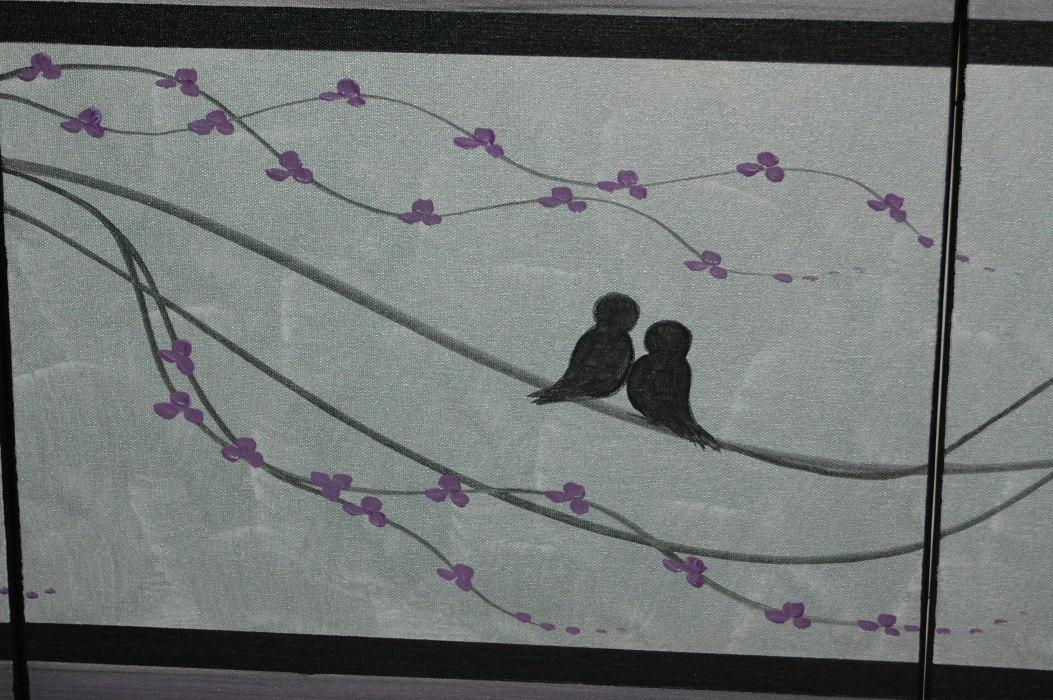 CUSTOM Abstract Love Bird Painting Silver Purple Elegant Wall Art ...