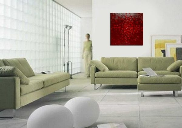 CUSTOM Bold Red Textured Modern Abstract Painting Urban Original Art on Stretched Canvas 30x30
