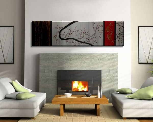 Custom Large Koi Fish Painting Cherry Blossom and Bamboo Original Abstract Asian Zen Personalized Family Art 60x16