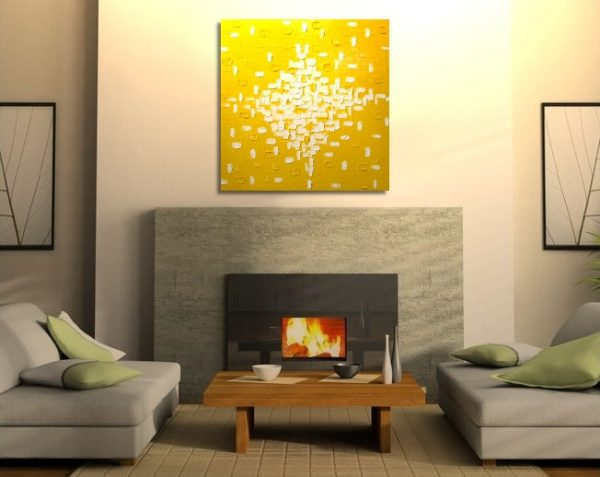 Custom Large Yellow Abstract Painting Original Knife Art Bright Happy Modern Sunny Yellow Contemporary Uplifting Art 30x30