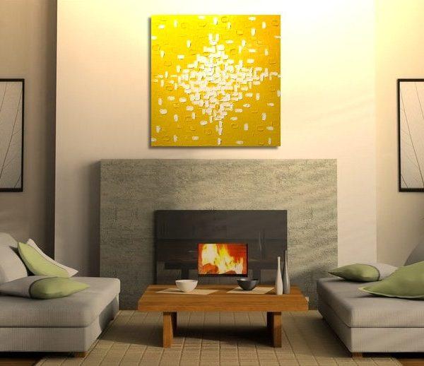 Custom Large Yellow Abstract Painting Original Knife Art Bright Happy Modern Sunny Yellow Contemporary Uplifting Art 30x30