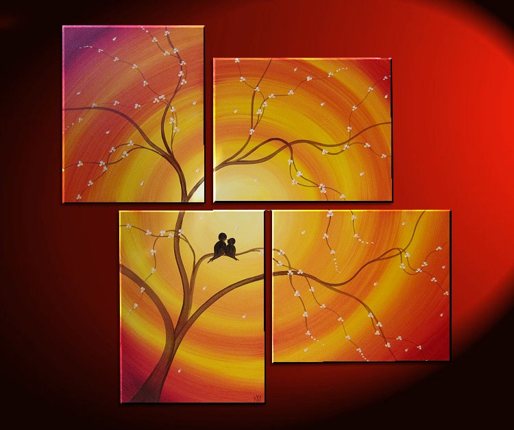 Custom Love Bird Art Orange Painting Cherry Blossom Tree Cream Flowers Asian Style Art Japanese Delicate Branches 47x41