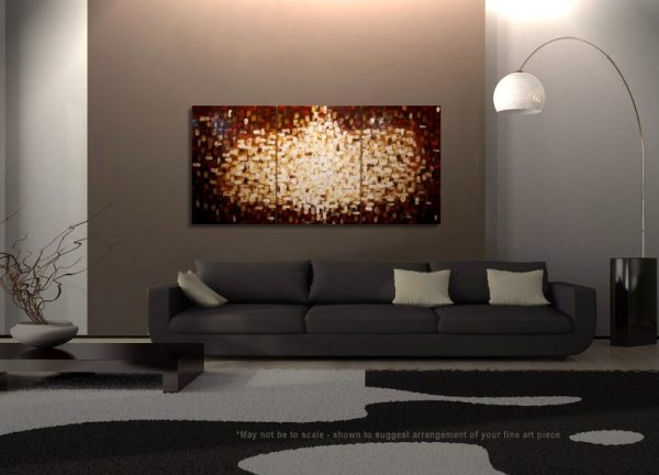 Custom Textured Painting Brown Red Modern Abstract Art Yellow White Sun Burst Original Big Palette Knife Art 72x36