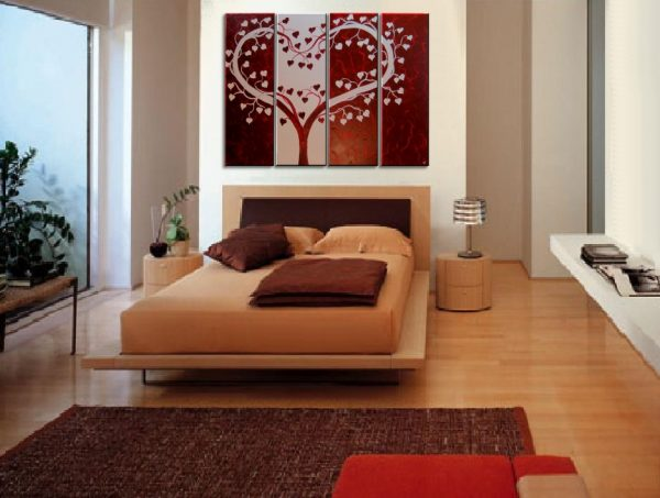 Deep Red Heart Love Tree Painting Red and White Modern Abstract Art Large 48x36 Wedding Anniversary Gift CUSTOM
