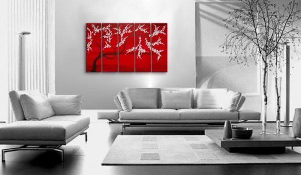Elegant Cherry Blossom Painting Modern Flower Painting Abstract HUGE Original Textured Impasto Art Large Red Black and White Custom 60x36