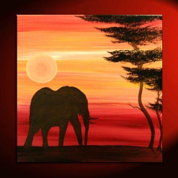 Elephant Painting Sunset Silhouette African Acacia Tree Savanna Urban Art Original Custom 30x30