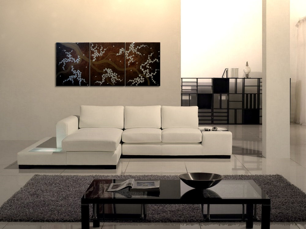 Fine Art Painting Cherry Blossom Tree Art Modern Contemporary Painting Espresso Brown and Cream White Flower Petals 48x20