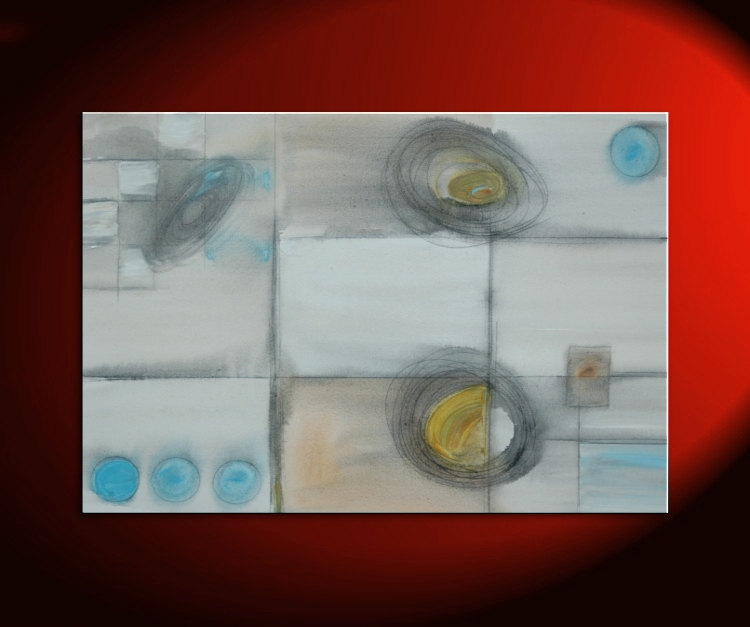 Geometric Abstract Painting Circles and Lines Art on Stretched Canvas White Blue Yellow Charcoal Custom 36x24