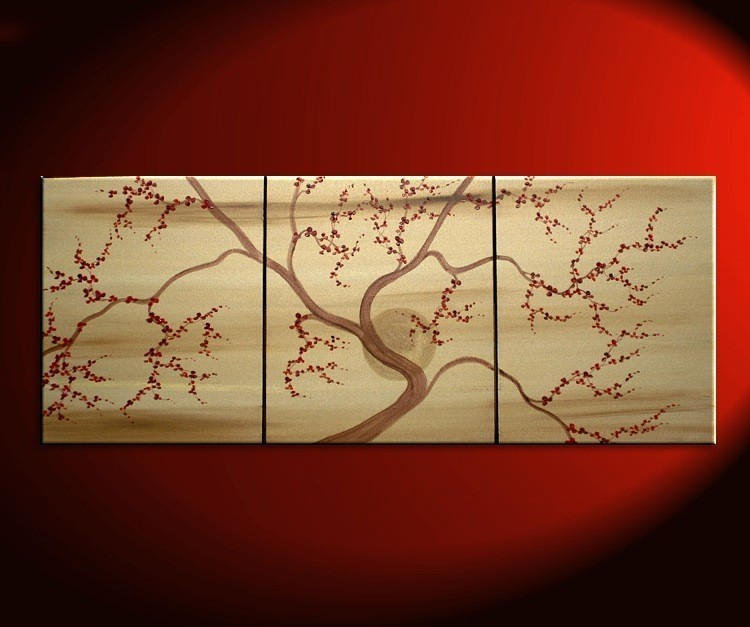 Gold Tree Art Cherry Blossom Painting Deep Red Flowers Asian Zen customize colors CUSTOM 48x20