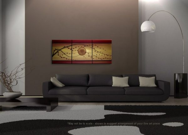 Golden Cherry Blossom Acrylic Painting Deep Red Flowers Asian Zen Tree Art customize size CUSTOM 48x20