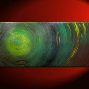 Green Abstract Painting Impasto Textured Modern Abstract Art Urban Original Ships Fast Large Size Wall Decoration 48x24