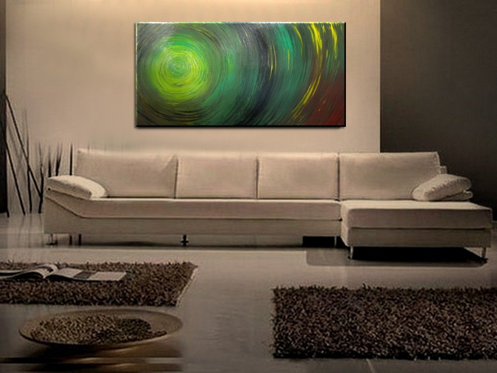 Green Abstract Painting Impasto Textured Modern Art Urban Original Ships Fast Large Size Wall Decoration 48x24