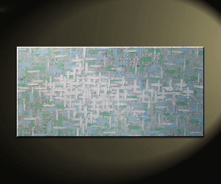 Grey Blue Green Abstract Painting Textured Knife Art Large Original Modern Impasto Calm Contemporary Uplifting Art 48x24 CUSTOM