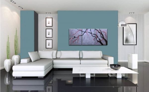 Grey Cherry Blossom and Love Bird Painting Beautiful Original Art Pink Flowers Tree Branches 48x20 Custom