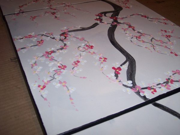 Grey Original Painting Blooming Cherry Blossom Branch Art Korean Style Painting 48x20 Custom