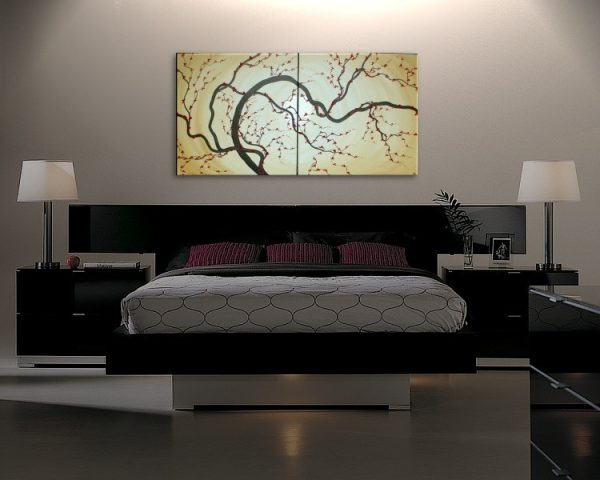 Huge Japanese Painting Plum Blossom Soft Golden Caramel Hues Red Flowers Large Modern Art Made to Order Custom 60x30