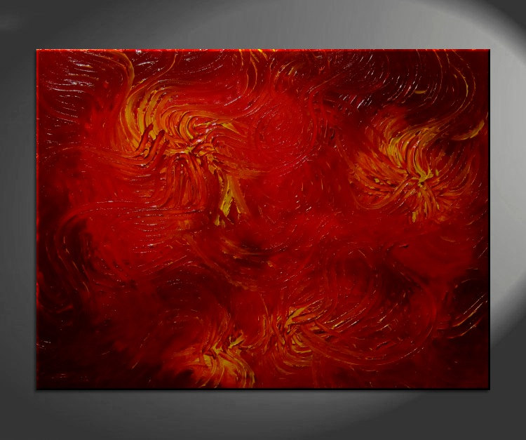 Huge Red Abstract Painting Textured Wall Art Original Passionate ...