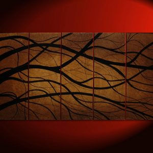 HUGE Tree Branch Painting Modern Abstract Original Art Large Chocolate Espresso Brown and Black Custom Five Canvases 60x36