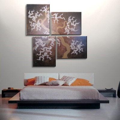 HUGE Wall Art Chocolate Brown Large Painting Contemporary Abstract Asian Fusion Gnarly Plum Blossom Art 79x82 Custom