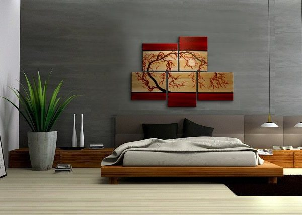 Merveilleux HUGE Zen Wall Art Red And Gold Large Painting Contemporary Abstract Asian  Fusion Gnarly Plum Blossom