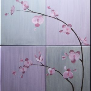 Large Abstract Orchid Painting Lilac and Silver Huge Delicate Elegant Original Wall Art Multiple Canvases Home Decor Custom 32x40