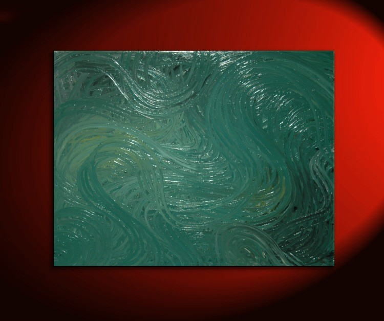Large Abstract Painting Green Textured Modern Urban Original Art Recycled Paint Bottle Gl Earth 40x30
